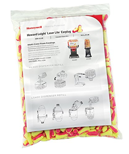 Howard Leight Laser Lite Hi-Visibility Earplug Refill for HL400 Dispenser, 200 Pairs - Pair 200 Refill Bag
