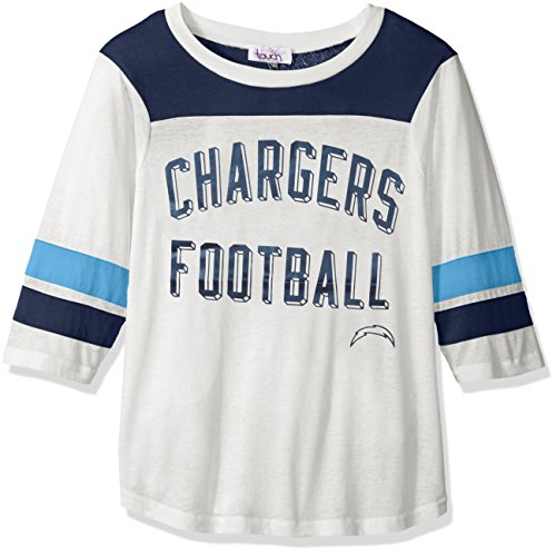 San Diego Chargers Womens (Touch by Alyssa Milano NFL San Diego Chargers Women's Gridiron Tee, White, Small/Medium)