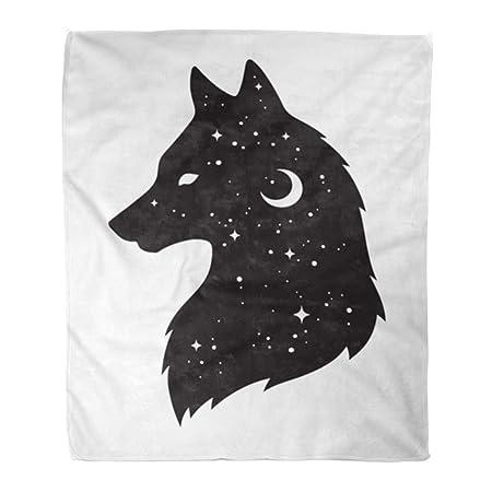 Manta de franela Emvency con diseño de silueta de lobo, luna ...
