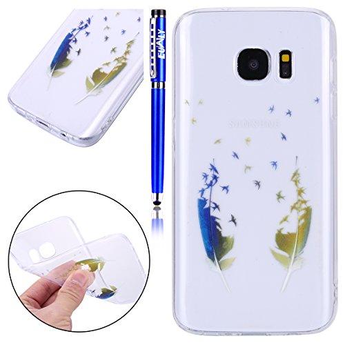 Carcasa Samsung Galaxy S7 Edge, Funda Samsung Galaxy S7 Edge Transparente Silicona, EUWLY Ultra Slim Dibujos Pintado de Colores con Patrón Elegante Silicona Carcasa Ultra Fina Transparente Flexible Su Pájaro Pluma