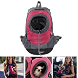 Pet Carrier, Wanty Creative Durable Comfortable Fabric Mesh Head Out Design Pet Puppy Dog Front Carrier Bag Pack Backpack Fit for Small Dogs Portable for Outdoor Travel Hiking (S, Red)