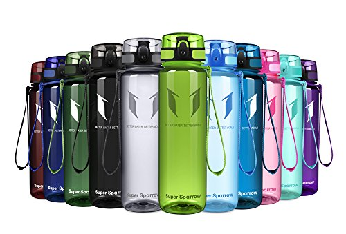 (Super Sparrow Sports Water Bottle - Eco Friendly & BPA-Free Plastic - Fast Water Flow, Flip Top, Opens with 1-Click - Reusable with Leak-Proof Lid (Bright-Lime, 500ml-17oz))
