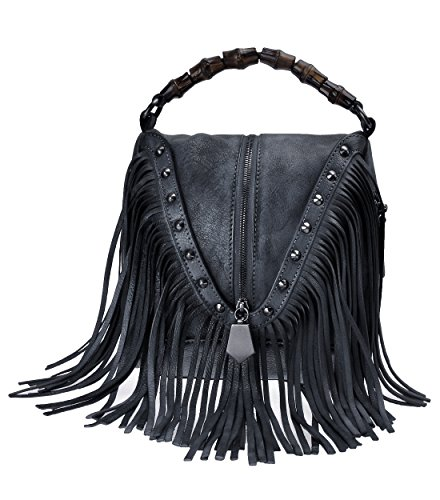 Beaded Leather Bag Shoulder (ZLYC Women's Leather Bamboo Hand Strap Featured Fringe Bohemian Tassel Studed Cross Body Bag (Gray))