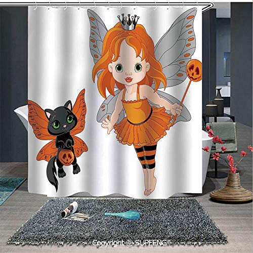 Interesting shower curtain Halloween Baby Fairy and Her Cat in Costumes Butterflies Girls Kids Room Decor Decorative (72W x 72L Inch) Colorful,bold design, waterproof, Easy to care ,privacy protection