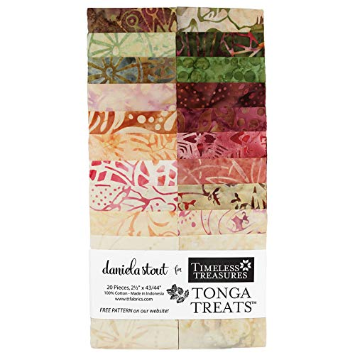 Daniela Stout Tonga Treats Batiks Posey Strip Jr 20 2.5-inch Strips Jelly Roll Timeless Treasures
