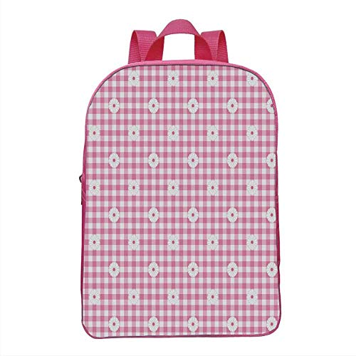 Light Pink Fashionable Backpack,Checkered Striped Tartan Background with Daisy Petals Pastel Style Print Decorative for School Travel,One_Size