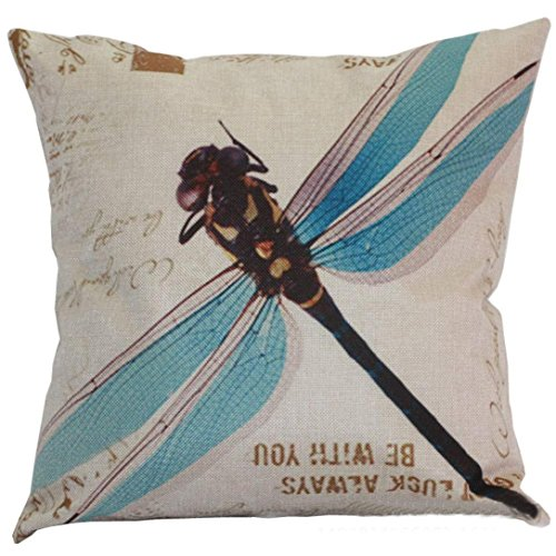 Meyerlbama Pillow Cases Dragonfly Sofa Bed Home Decor Pillow Sham Cushion Cover Square Retro Pillowslip (BLUE, S) (Definition Bed Cover)