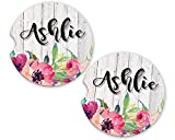 Floral White Wood Personalized Monogram Sandstone Car Cup Holder Matching Coaster Set