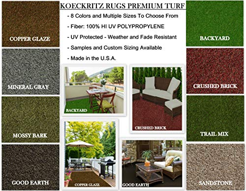 100% Olefin Shaw Rugs - Koeckritz Rugs Premium Indoor/Outdoor Artificial Turf Rugs Runners Patios, Decks, Gazebos, Boats, Trailers More. 8 Colors Many (3' x 12', Crushed Brick)