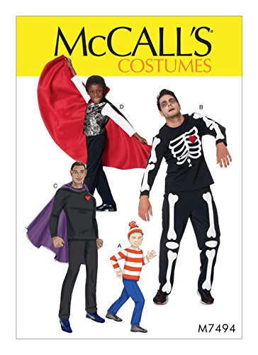 MCCALLS M7494 (MENS SIZE 34-48) Skeleton, Hero, Vampire and Character Costumes SEWING -