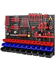 Gereedschapswand stapelboxen 1152 x 780 mm - opslagsysteem SET gereedschapshouders en 34 stuks doos - wandrek werkplaatsrek gatenwand opbergkast