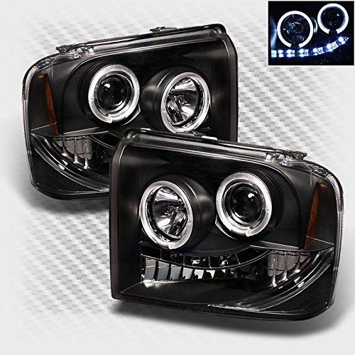 Xtune 2005-2007 F250 F350 F450 Super Duty Halo LED Headlights Black Head Lights Pair Left+Right 2006 - Super Duty Left Headlight