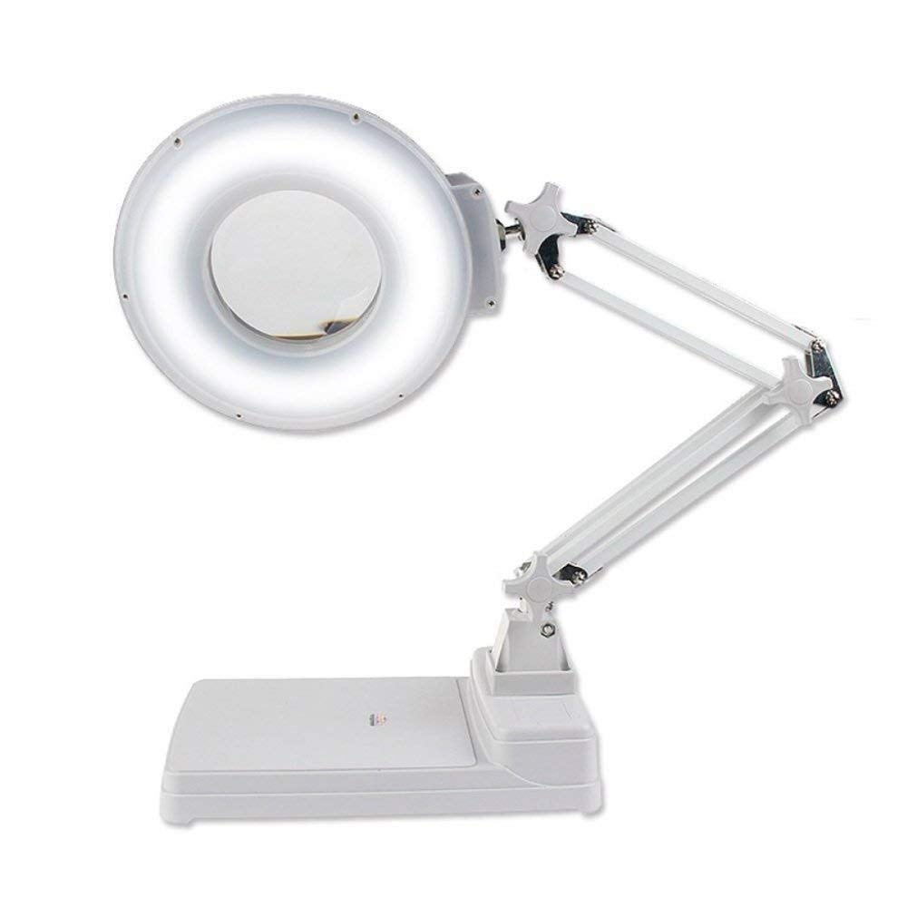 ZTHUAYUAN Handheld Mini Magnifier Magnifier Magnifier Desktop Magnifier HD and Led lamp White Glass 10X Mobile Phone Repair Old Reading lamp, White by ZTHUAYUAN