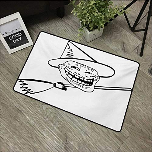 Interior mat W19 x L31 INCH Humor,Halloween Spirit Themed Witch Guy Meme LOL Joy Spooky Avatar Artful Image Print,Black and White Non-Slip Door Mat Carpet ()