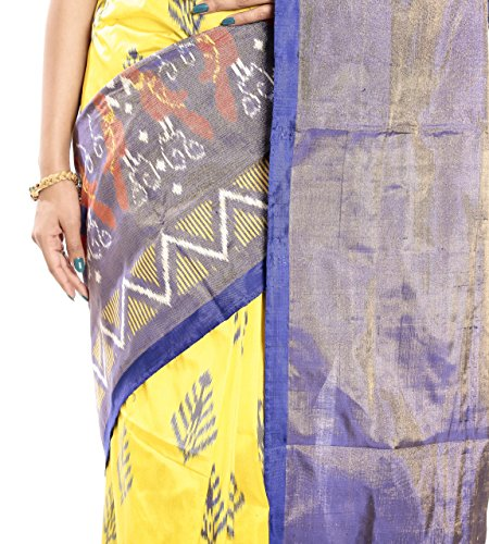 Mandakini — Indian Women's Pochampally - Handloom - Ikat Pure Silk Saree (Yellow ) (MK362) by Mandakini (Image #3)