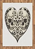 Day Of The Dead Area Rug by Ambesonne, Twin Half Fire Design in Heart Shapes Festive Spanish Image Print, Flat Woven Accent Rug for Living Room Bedroom Dining Room, 5.2 x 7.5 FT, Cream and Black