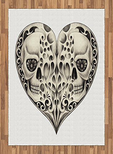 Day Of The Dead Area Rug by Ambesonne, Twin Half Fire Design in Heart Shapes Festive Spanish Image Print, Flat Woven Accent Rug for Living Room Bedroom Dining Room, 5.2 x 7.5 FT, Cream and Black by Ambesonne