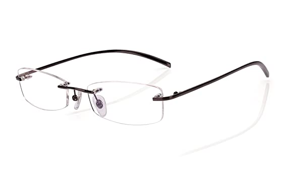 c3e8a36b52 Agstum Pure Titanium Rimless Glasses Prescription Eyeglasses Rx (Black