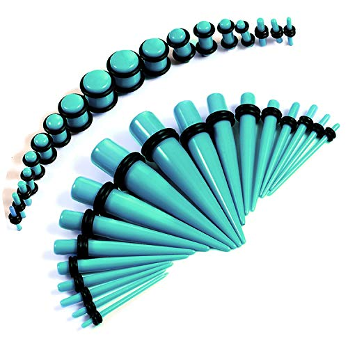 BodyJ4You 36PC Gauges Kit Turquoise Acrylic Taper Plug 14G-00G Ear Stretch O-Rings Body Piercing