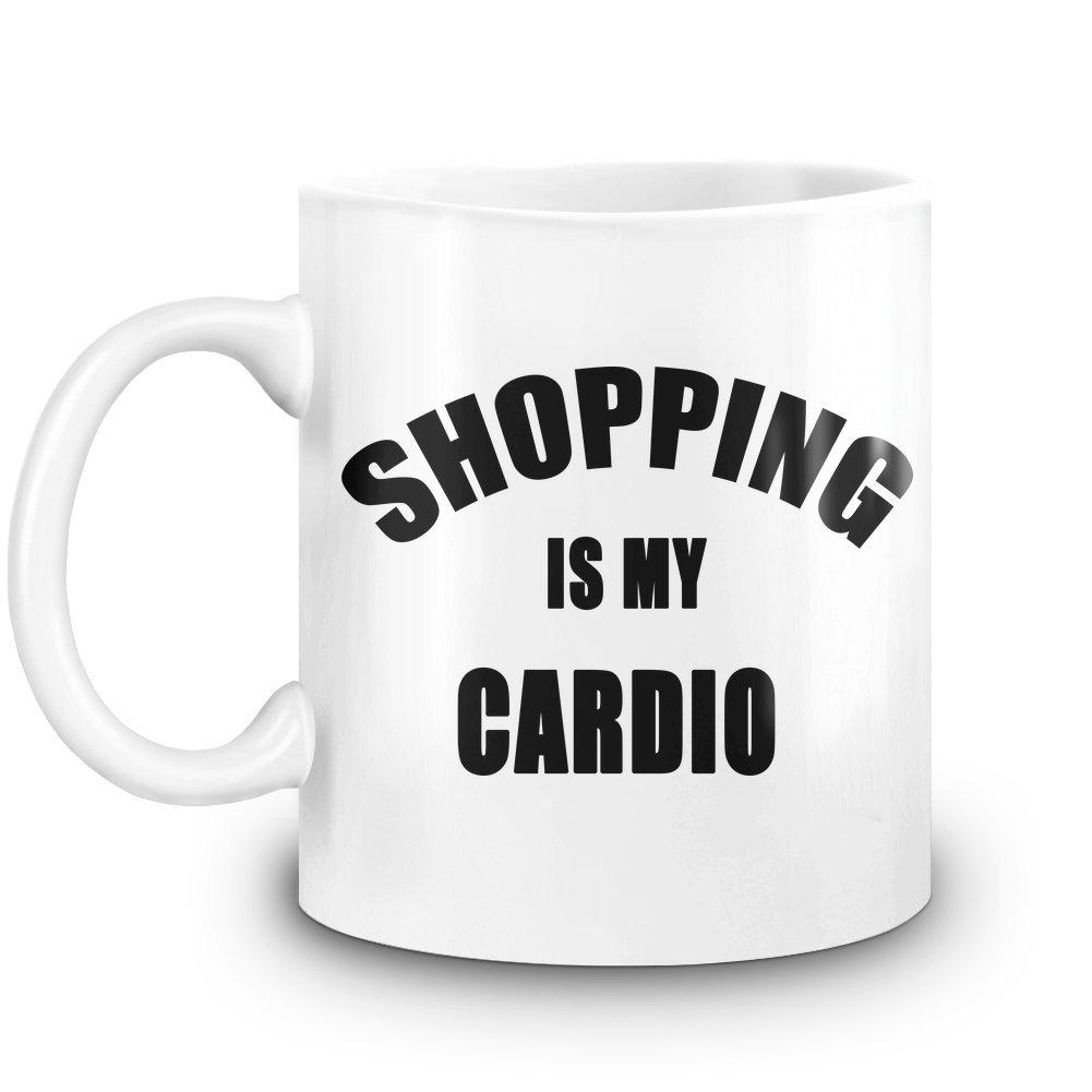 Harma Art Einkaufen ist Mein Cardio - Shopping is My Cardio Coffee Mug 11 Oz Ceramic Kitchen Cup for Hot Beverages