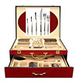 Venezia Collection 75-Pc Luxury Gold Flatware Set for 12 w/Wooden Storage Case, 24 kt Plated Premium Dining Cutlery Service, 18/10 Surgical Stainless Steel Silverware Hostess Serving Set in a Chest