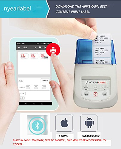 NYEAR58-10mm (Adjust) Receipt Printer,Portable Personal Mini Wireless  Bluetooth Printer iOS Android Systems, USB Thermal Printer Compatible  ESC/POS