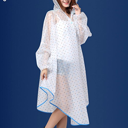 Pink Rain Fashion Cape Women's Style Zhhlinyuan amp;purple Hooded Raincoat Transparent Dots EqznaB