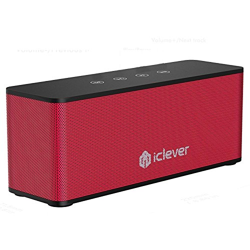 [14 Hour Playtime Loud Speaker]iClever Bluetooth V4.2 Speaker with Touch Control, 20W Premium Portable Wireless Stereo, Dual Passive Driver,Red Black