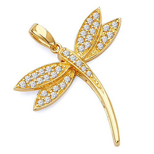 Wellingsale 14K Yellow Gold Polished Dragonfly Charm Pendant with CZ Accent