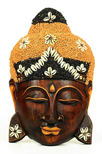 G6 Collection Wooden Wall Mask Serene Buddha Head Statue Hand Carved Sculpture Handmade Figurine Decorative Home Decor Accent Rustic Handcrafted Art Wall Hanging Decoration