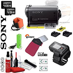 Sony HDR-AS30V POV HD 1080p Wearable Cam with Carl Zeiss Lens and Built-In WiFi, GPS, NFC & Live View Remote Watch Fuel+ Memory Bundle
