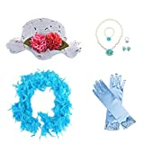 GILAND Girls Tea Party Set Dress Up Play Sunhat, Feather Boa, Gloves and Jewelry (Wathet)