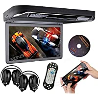 XTRONS® Black 13.3 HD 1080P Video Car MPV Roof Flip Down Slim Overhead DVD Player Wide Screen Ultra-thin with HDMI Input 2PCS IR Headphones Included