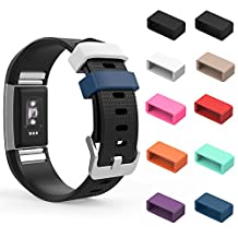 Fitbit Charge 2 Fastener Ring, MoKo [10 PCS] 9 Colours Replacement Silicone Secure Clasps ONLY for 2016 Fitbit Charge 2 HR Heart Rate + Fitness Wristband, No Tracker and Wristband