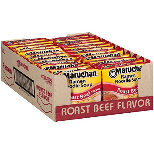 Ramen Beef Top Nissin - Maruchan Ramen Roast Beef, 3 Ounce (Pack of 24)