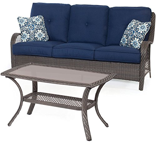 Hanover ORLEANS2PC-G-NVY Orleans 2 Piece Patio Set, Blue Outdoor Furniture, Navy with Grey Wicker