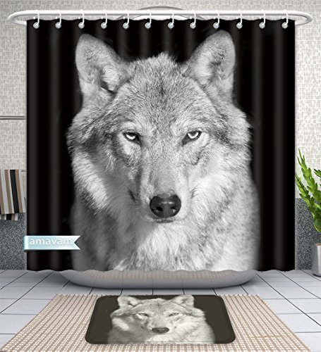 Portrait Piece Toilet 2 (Amavam Bathroom 2-Piece Suit Black and White Close Up Portrait of Grey Wolf Female Square Image Beautiful and Dangerous Beast Shower Curtains and Bath Mats Set, 71