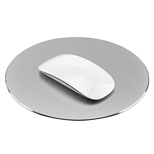 niceEshop(TM) 220x220mm Mouse Mat Circular Gaming Aluminium Metal Mouse Pad with Waterproof Non Slip Rubber Base and Frosted Surface Mousepad for Apple MackBook, Silver Gray