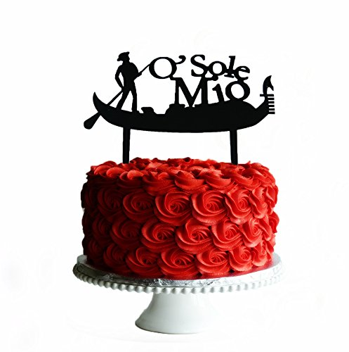 Gondola O Sole Mio Italia Cake Topper Color Black Laser Cut MDF 1 PC
