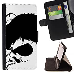 Momo Phone Case / Flip Funda de Cuero Case Cover - Gafas de sol Negro Arte Cara Blanca Retrato Hombre - Samsung Galaxy S6 EDGE