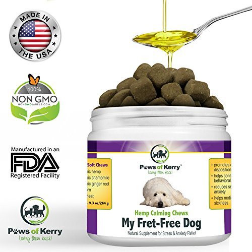 Essential Blanket Dog Coat - #1 Calming Treats for Dogs Anxiety, Stress Relief from Separation Anxiety, Natural Calming Aid for Motion Sickness, Storms with Organic Hemp Oil, L-Tryptophan & Organic Chamomile |120 Soft Chews USA.