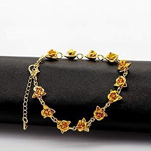 Dozen Roses Bracelets Y452 Uloveido Cute Red Rose Flower Charm Bracelet for Women Girls 18K Gold Plated Nature Jewelry