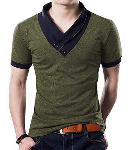 (YTD 100% Cotton Mens Casual V-Neck Button Slim Muscle Tops Tee Short Sleeve T- Shirts (US Large, Army Green))