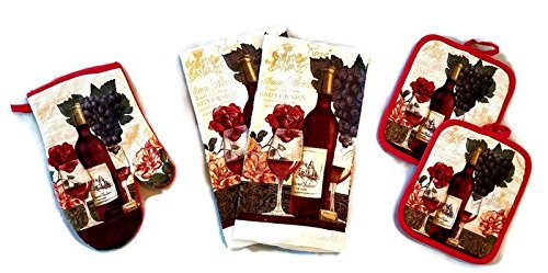 Wine And Grapes Linen 5 Piece Bundle Package Oven Mitt (1) Pot Holders (2) Kitchen Towels (2) (Grape Holder)