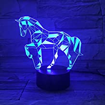 WANTASTE 3D Horse Lamp, Optical Illusion LED Night Lights for Room Decor and Baby Nursery, 7 Color Changing Toys and Cool Birthday Gifts for Boys / Children / Horse Lovers