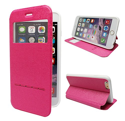 Comsoon(TM) Fashion Shockproof Case for iPhone 6 Plus Case [SLIDE SERIES] [Smart Case] Cover Leather Folio Flip Case with [Kickstand] Shell For Apple iPhone 6 5.5 Case Smart [Slide Answer] Case (Pure Hot Pink)