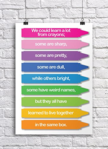 JSC385 We Could Learn A Lot From Crayons Classroom Poster | 18-Inches By 12-Inches | Premium 100lb Gloss Poster Paper (Crayons Rug)