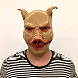 DeemoShop Unisex Pig Head Mask Animal Saw Pig Mask Cosplay Costume Latex Party Halloween Masquerade Prop Pilgrimage to The West Moive Tool