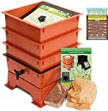 Worm Factory DS3TT 3-Tray Worm Composting Bin + Bonus ''What Can Red Wigglers Eat?'' Infographic Refrigerator Magnet - Vermicomposting Container System - Live Worm Farm Starter Kit for Kids & Adults