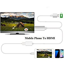 Efanr MHL USB to HDMI Media 1080P HDTV Audio Adapter Cable Universal TV Converter for iPhone 7 7 Plus 6 6S Plus iPad Samsung Galaxy S3 S4 S5 S6 Note 4 5 HTC Andriod Devices (White)